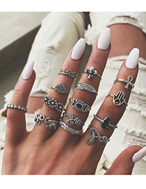 Fashion Silver Alloy Ring Fourteen Sets