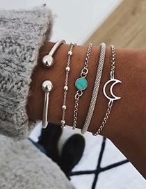 Fashion Silver Alloy Moon Bracelet Set Of 5