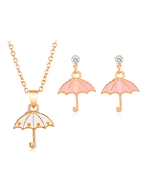 Fashion White + Pink Alloy Umbrella Necklace Earring Set