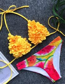 Fashion Yellow Printed Bikini
