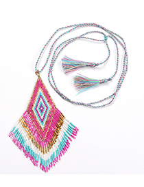 Fashion Pink Necklace Woven Fringed Contrast Necklace Bracelet Set