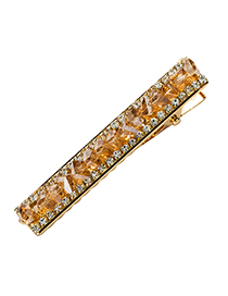 Fashion Brown Full-drilled Alloy Toothed Hair Clip