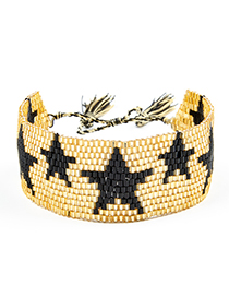 Fashion Gold Woven Five-pointed Star Rivet Crystal Bracelet
