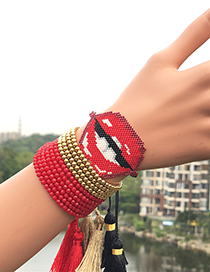 Fashion Red Suit Woven Rice Beads Lip Bracelet