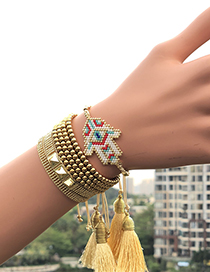 Fashion Golden Suit Woven Rice Beads Palm Eye Bracelet