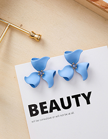 Fashion Blue S925 Silver Needle Spray Flower Earrings