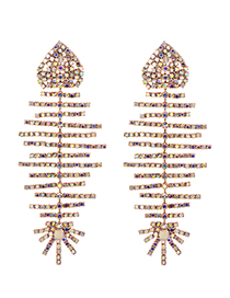 Fashion Ab Color Alloy Studded Fish Bone Earrings