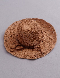 Fashion Coffee Color Bow Pineapple Pattern Foldable Straw Hat