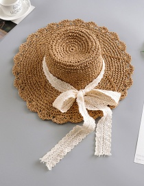 Fashion Camel Lace Bow Straw Hat