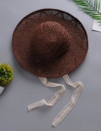 Fashion Brown Lace Hat And Straw Hat