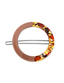 Fashion Hair Clipissuing - Coffee Color Geometric Disc Acetate Plate Hairpin