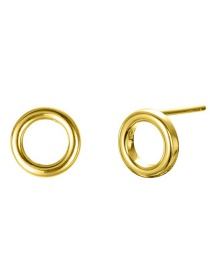 Fashion Gold Stainless Steel Hollow Geometric Round Earrings
