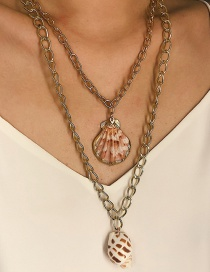 Fashion Gold Conch Shell Double Necklace