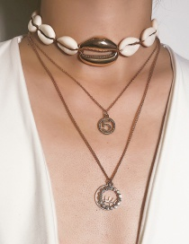 Fashion Golden Shell Digital Micro-embedded Necklace