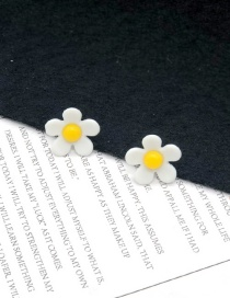 Fashion Small White 925 Silver Needle Flower Earrings