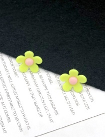 Fashion Small Yellow 925 Silver Needle Flower Earrings