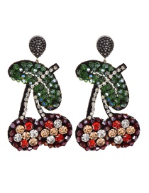 Fashion Color Resin-studded Cherry Earrings