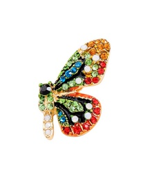 Fashion Color Flower Butterfly With Diamond Brooch
