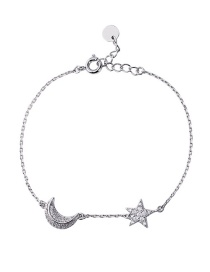 Fashion Silver Star Moon Diamond Bracelet