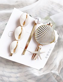 Fashion Gold Alloy Large Shell Hair Clip Three-piece