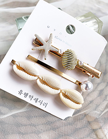 Fashion Gold Alloy Small Shell Hairpin Three-piece