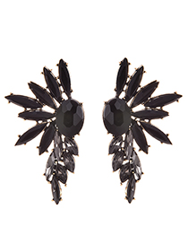 Fashion Black Alloy Stud Earrings