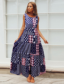 Fashion Blue Round Neck Polka Dot Print Plaid Dress