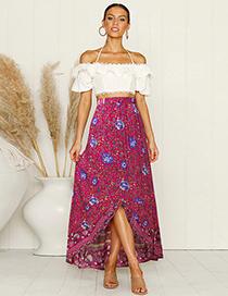 Fashion Red Floral Irregular Hem Skirt