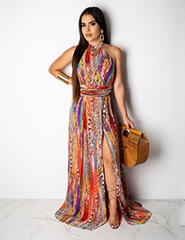 Fashion Color Open Back Hanging Tie Dyed Printed High Slit Dress