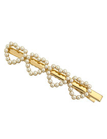 Fashion 4 Gold Color Love Heart Shaped Pearl Hair Clip
