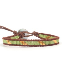 Fashion Bean Green Antique Bead Woven Bracelet