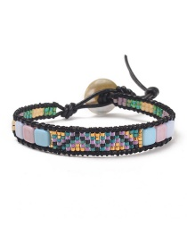 Fashion Color Natural Stone Crystal Buckle Woven Leather Bracelet