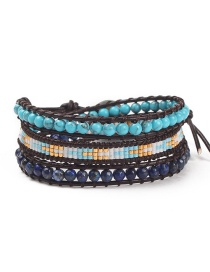Fashion Blue Blue Turquoise Multi-circle Antique Beads Woven Buckle Leather Bracelet