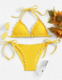 Fashion Yellow Cashmere Printed Two-piece Swimsuit