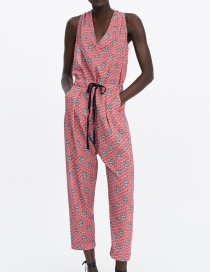 Fashion Red Lace-up Printed Jumpsuit