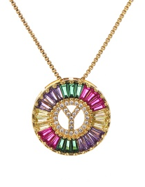 Fashion Y Multi-color Copper Inlaid Zircon Letter Necklace