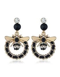 Fashion Black Insect Alloy Tassel Earrings