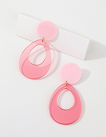 Fashion Red Resin Transparent Oval Earrings