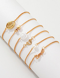 Fashion Gold Love Love Shell Bracelet 6 Piece Set