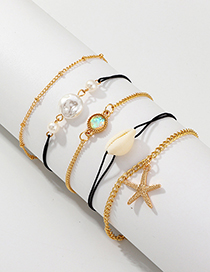 Fashion Gold Natural Shell Starfish Pearl Bracelet Set