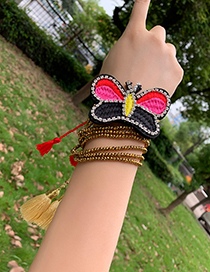 Fashion Color Rice Bead Embroidered Diamond Butterfly Adjustable Tassel Bracelet