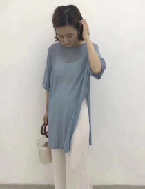 Fashion Blue Long Round Neck Pullover Shirt