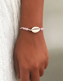 Fashion Pink Natural Shell Rice Beads Woven Bracelet