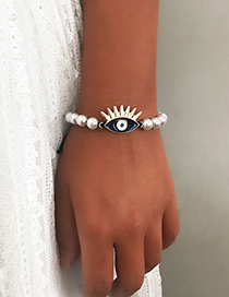 Fashion White Eye Pearl Tandem Bracelet