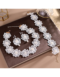 Fashion White Pearl Lace Hair Earrings Set