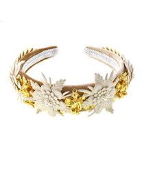 Fashion White Diamond Crystal Gemstone Lace Flower Headband