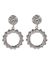 Fashion Silver Alloy Round Earrings