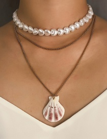 Fashion Gold Multilayer Gold-plated Natural Scallop Imitation Pearl Necklace