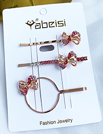Fashion Red Alloy Diamond Small Bow Hair Clip Set
