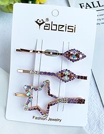 Fashion Purple Alloy Diamond Five-pointed Star Diamond Hair Clip Set